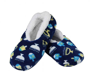Aviv Judaica Socks Adult Medium Hanukkah Snuggle Slippers - Kids and Adult Sizes