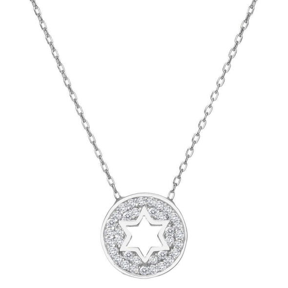 Round Sparkle Star of David Necklace