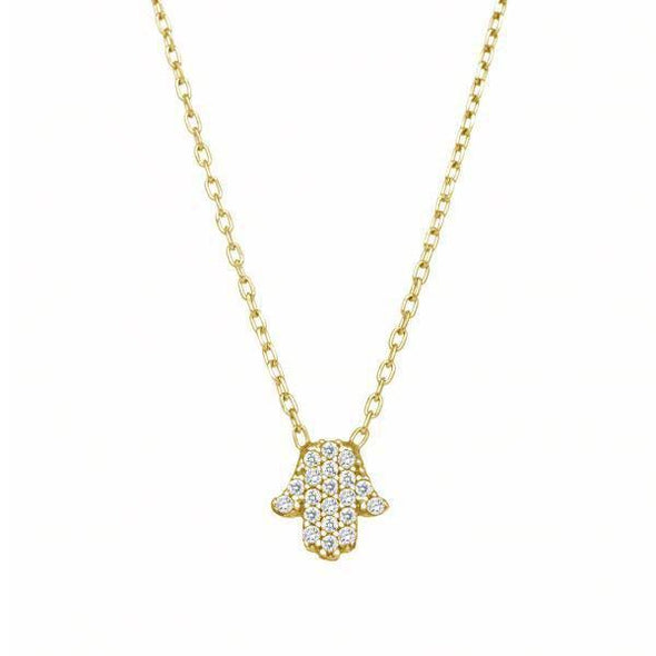 Tiny Hamsa Sparkle Necklace - Gold, Silver or Rose Gold