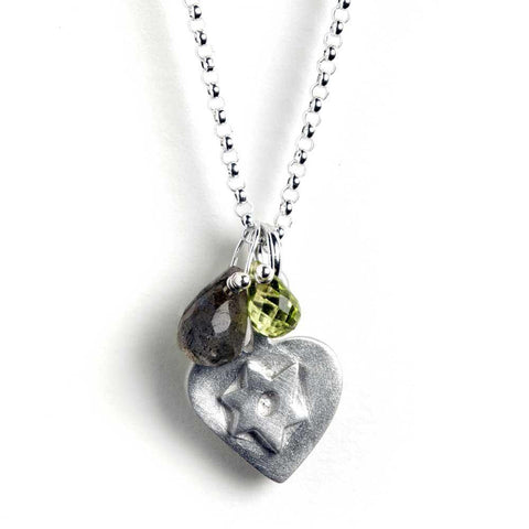 Star of David Heart Necklace With Gem by Emily Rosenfeld - ModernTribe - 1