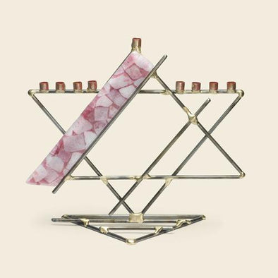 Glass Ribbon Star Menorah by Gary Rosenthal