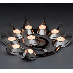 Stainless Steel Flame Menorah by Other - ModernTribe - 1