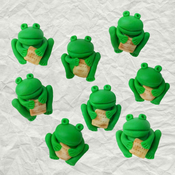 Passover Frogs Holding Matzahs Marzipan