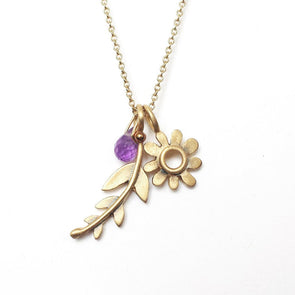 14k Gold Botanical Necklace with Gemstone by Emily Rosenfeld by Emily Rosenfeld - ModernTribe - 1
