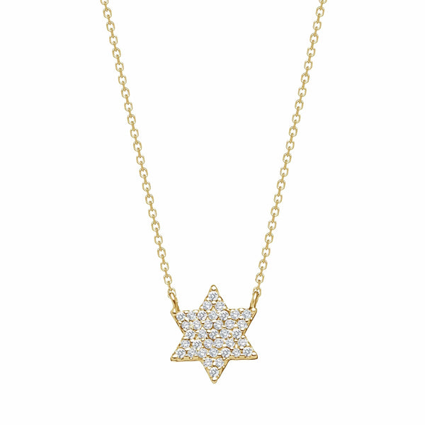 Alef Bet Necklaces Gold Diamond Star of David Necklace - Gold, White Gold or Rose Gold