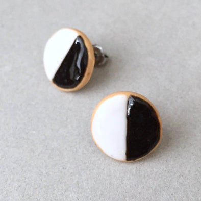 Black & White Cookie Stud Earrings
