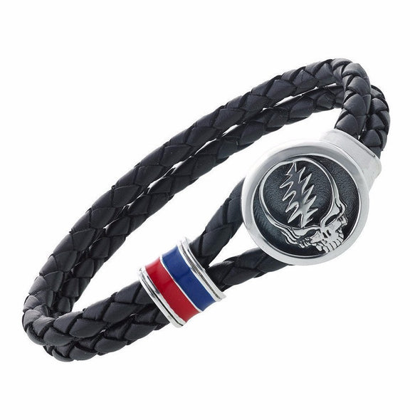 Grateful Dead Steal Your Face Bracelet on Black Leather