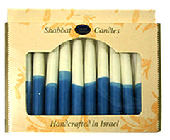 Blue & White Beeswax Shabbat Candles | Set of 12 by Safed - ModernTribe