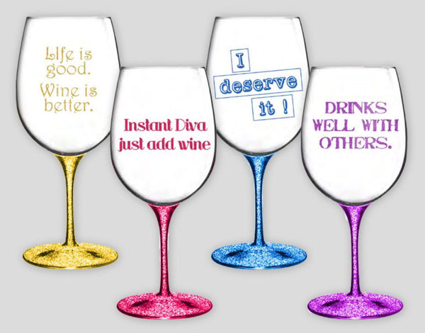 Decor Craft Wine Glasses Sassy Glitter Wine Glasses