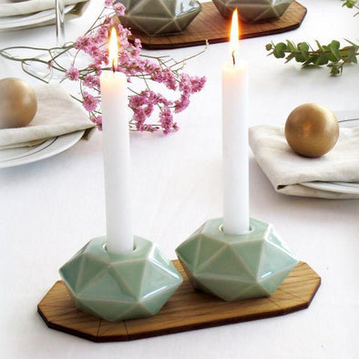 Light Green Hexagon Candlesticks - Pair