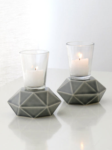 Grey Hexigon Candlesticks - Pair