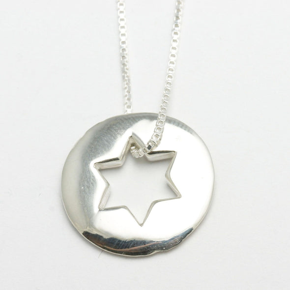 Sterling Silver Open Star of David Necklace
