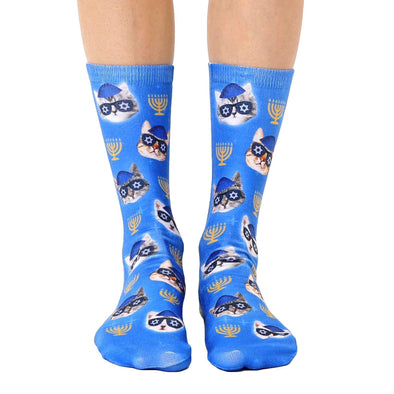 Hanukkah Kitties Crew Socks