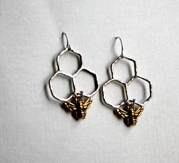 Rachel Pfeffer Earrings Silver Honeycomb Dangle Earrings
