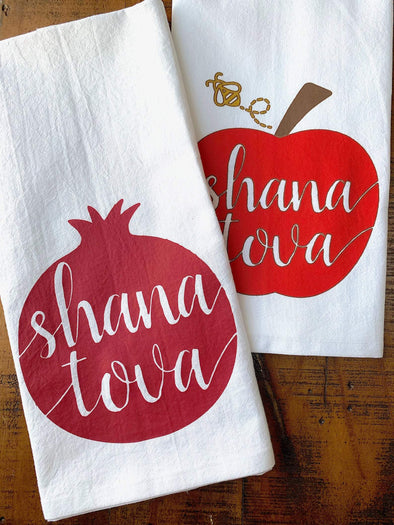 Kitchen Conversation Tea Towel Rosh Hashanah Pomegranate and Apple Tea Towels