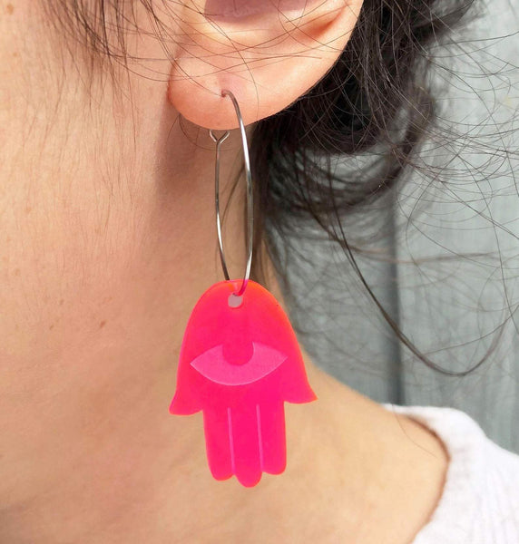 Counter Form Jewelry Earrings Pink Neon Pink Acrylic Hamsa Hoop Earrings
