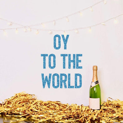 Oy to the World Glitter Banner - ModernTribe