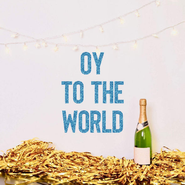 Oy to the World Glitter Banner