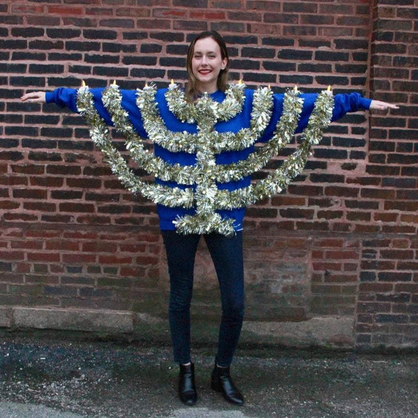 Wethouse Sweatshirts Light Up Handmade Hanukkah Sweatshirt