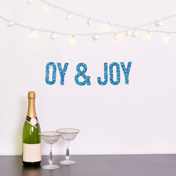 The Happy Ginger Co. Decor Blue Oy and Joy Glitter Banner - Silver or Blue