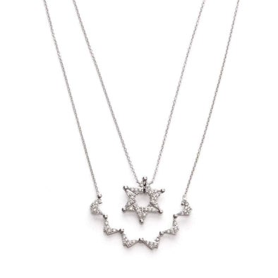 Stitch and Stone Necklaces Sterling Silver Butterfly Star of David Necklace