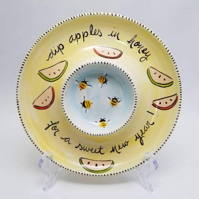 Hand-Painted Ceramic Apples and Honey Dish
