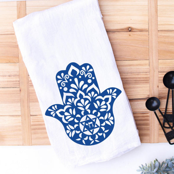Kitchen Conversation Tea Towels Blue Hamsa Chai Kitchen Tea Towel