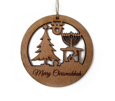 Wood Chrismukkah Ornament