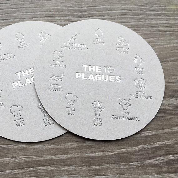 Silver 10 Plagues Passover Coasters, Set of 18
