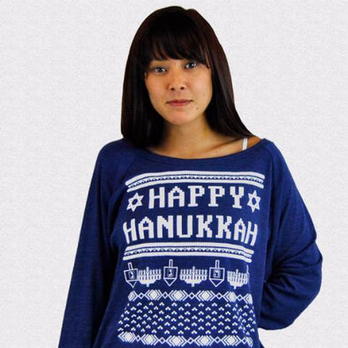Wethouse Sweaters Happy Hanukkah Ugly Hanukkah Sweater-Shirt - Women's