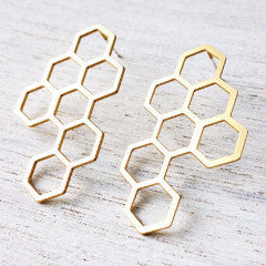 Honeycomb Earrings in Gold by Shlomit Ofir - ModernTribe - 1