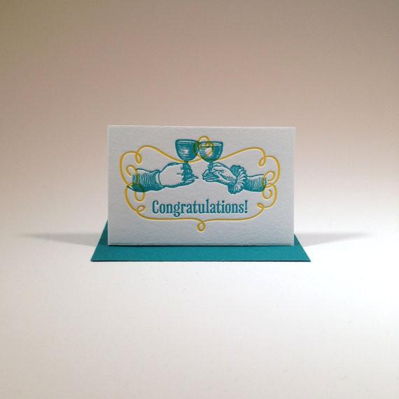 Letterpressed Congratulations Gift Enclosure (Toasting Hands) - ModernTribe
