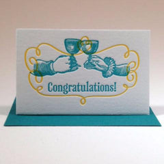 Letterpressed Congratulations Gift Enclosure (Toasting Hands) by Concrete Lace - ModernTribe - 1