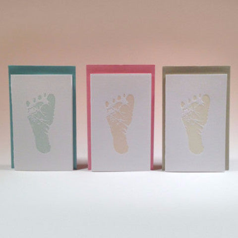 Baby Footprint Enclosure Letterpress Card by Concrete Lace - ModernTribe - 1