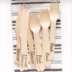 Birch Wood Yiddish Forks & Knives by Sucre Shop by Sucre Shop - ModernTribe