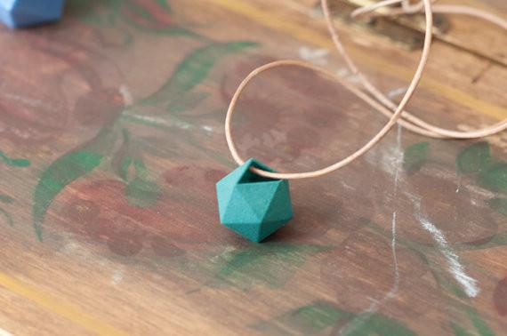 Miniature Icosahedron Necklace in Teal: A Wearable Planter - ModernTribe