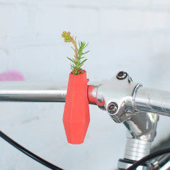 A Wearable Planter Bike Planter Geometric Handlebar Vase in Coral: A Wearable Planter For Your Bike