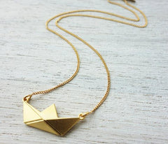 Origami Boat Necklace in Gold by Shlomit Ofir - ModernTribe - 1