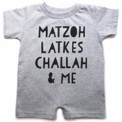 Jumping Birds Onesie Gray / 0-12 Mos Jewish Foods Romper For Babies