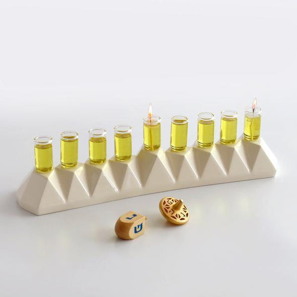 Hanukkah Oil Menorah for Oil or Wax Candles