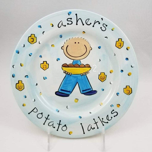 Personalized Potato Latkes Hanukkah Plate for Boy or Girl