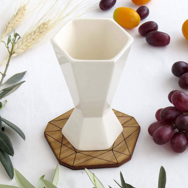 Studio Armadillo Kiddush Cup Minimalist White Shabbat Kiddush Cup