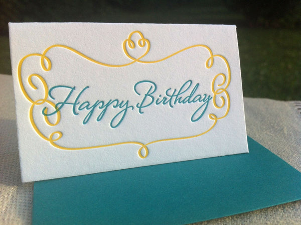 Concrete Lace Card Letterpressed Happy Birthday Gift Enclosure by Concrete Lace