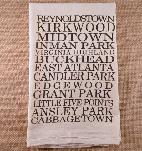 Atlanta Neighborhoods Flour Sack Tea Towel by French Silver - ModernTribe