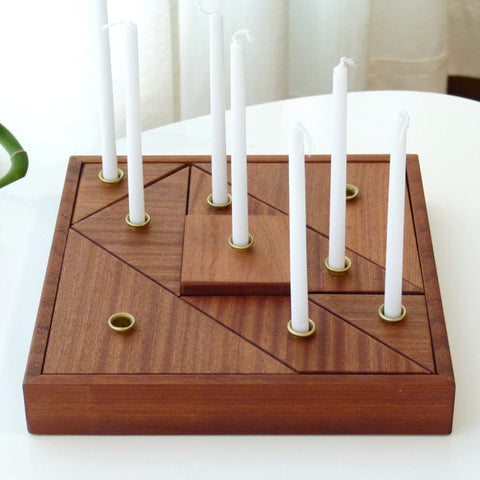 Wood Tangram Hanukkah Menorah by Studio Armadillo - ModernTribe - 1