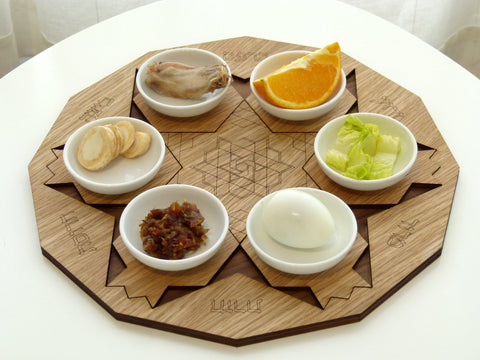 Wood Pomegranate Polygon Seder Plate by Studio Armadillo - ModernTribe - 1