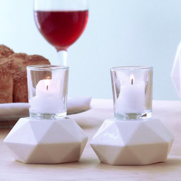 White Hexagon Candlesticks - Pair