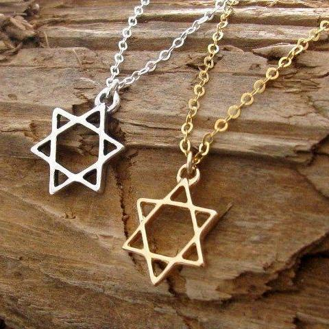 Mini Maxi Necklaces Dainty Gold or Silver Star of David Necklace