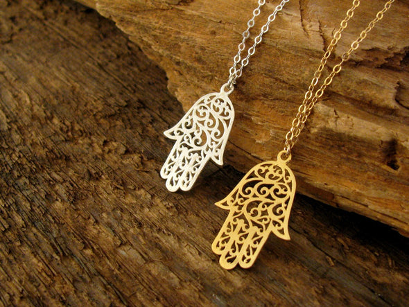 Lacy Silver or Gold Hamsa Necklace