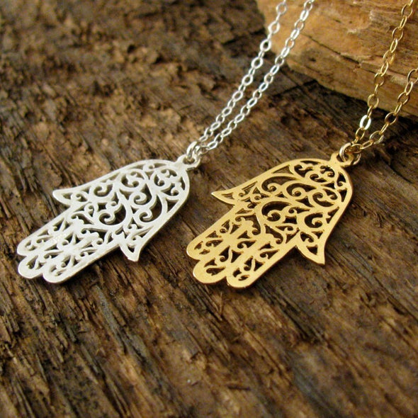 Lacy Silver or Gold Hamsa Necklace - ModernTribe